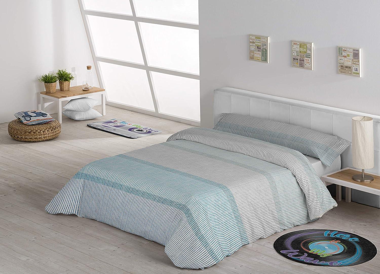 Secaneta Stlia Set Copripiumino e Federa in Cotone//Poliestere Colore: Blu per Letto da 90 160 x 240 cm Spazzolato 160 x 240 cm