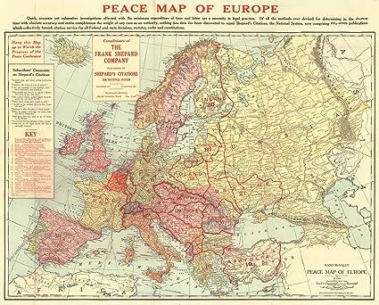 Amazon.com: Historic Map | 1918 Peace Map of Europe | Rand McNally ...