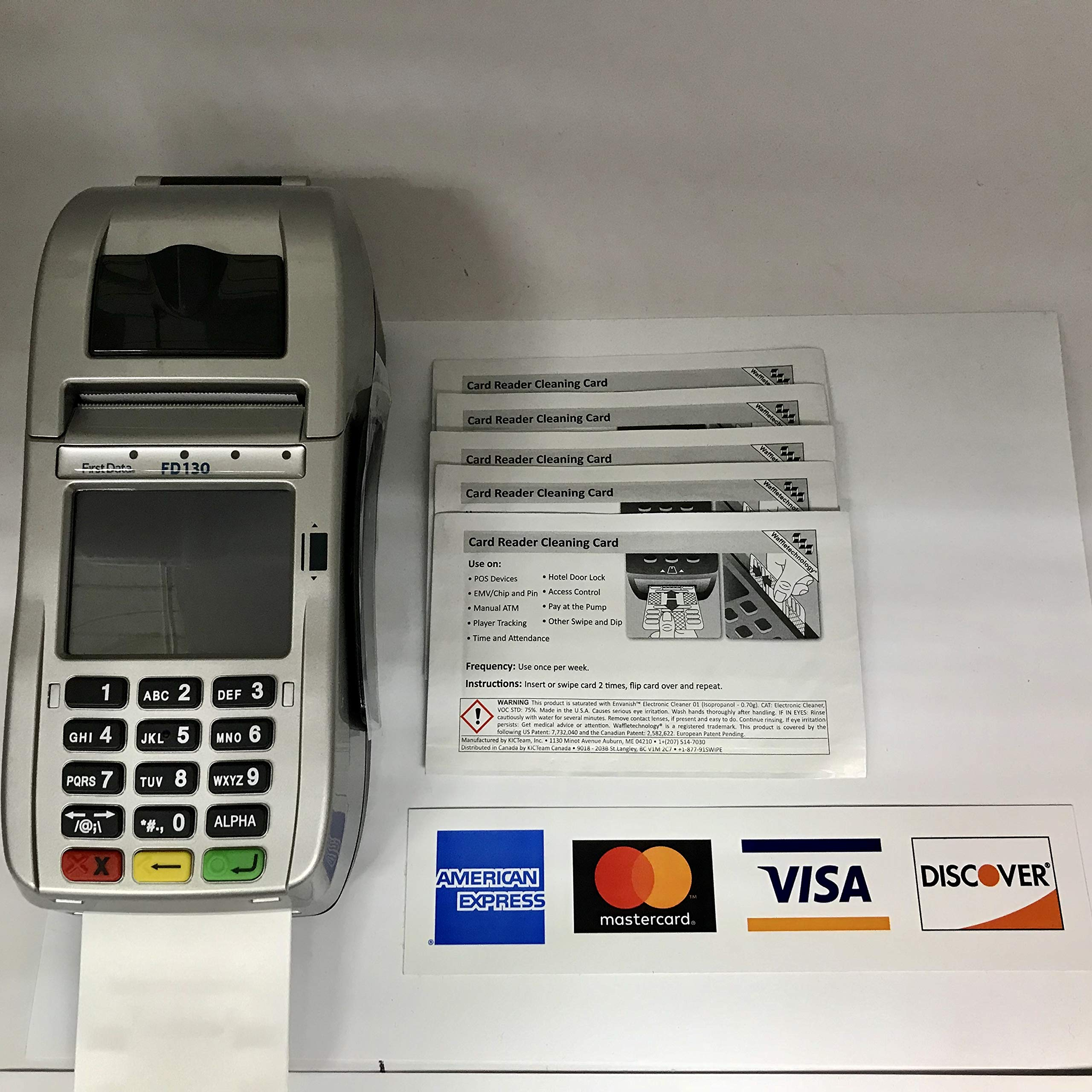 FD-130 Credit Card Terminal with 5 Cleaning Cards and Credit Card Logo Sticker