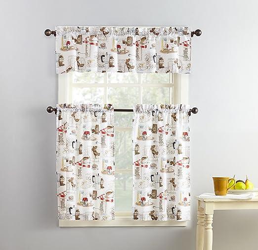 Amazon Com No 918 51107 Brew Coffee Print Microfiber 3 Piece Kitchen Curtain Set 54 X 36 White Home Kitchen