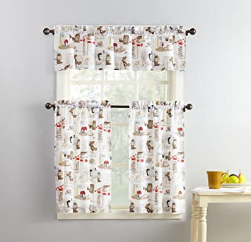 No 918 Brew Coffee Print Microfiber 3 Piece Kitchen Curtain Set 54 X 36 White