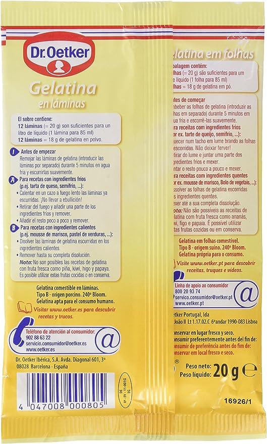 Dr. Oetker - Gelatina en láminas - 12 láminas: Amazon.es: Alimentación y bebidas
