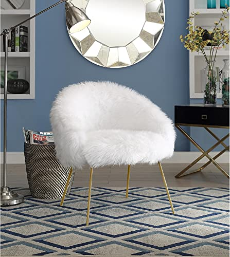 Ana White Fur Accent Chair – Metal Legs Upholstered Living Room, Entryway, Bedroom Inspired Home