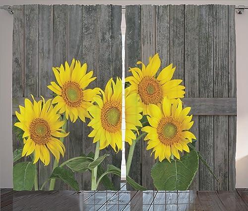 Ambesonne Sunflower Curtain