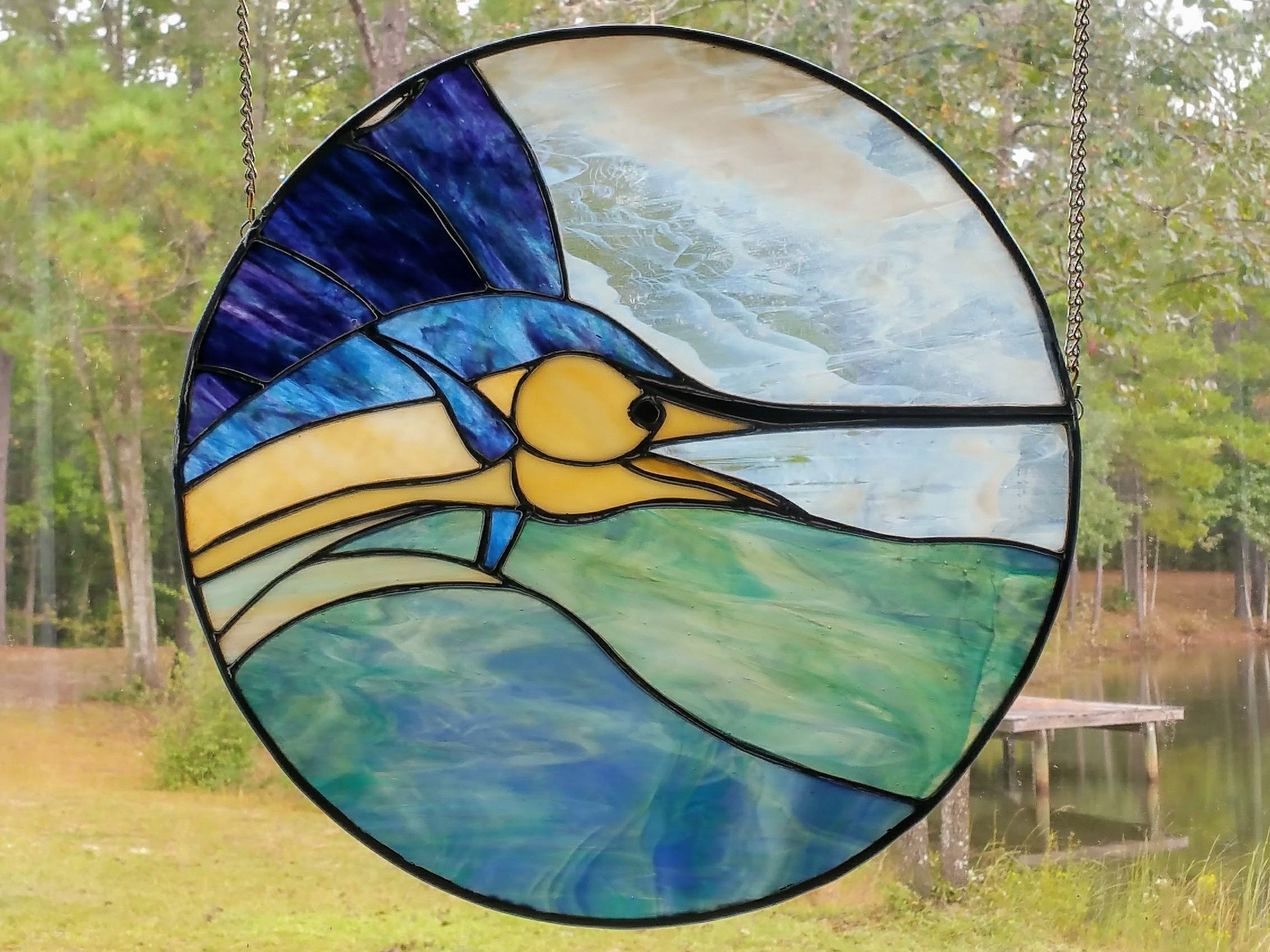 Handmade Stained Glass Sailfish Istiophorus Marlin Wall Hanging Ocean Window Art Suncatcher Island Beach House Decor