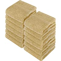 Utopia Towels - Luxury Washcloths Set 12 x 12 inches, Beige - 700 GSM 100% Cotton Premium Quality Flannel Face Cloths, Highly Absorbent and Soft Feel Fingertip Towels (12-Pack)