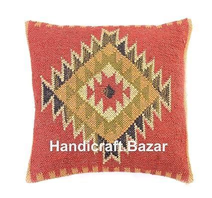 Handmade 1 Pcs 18 quot  Ecru Throw Pillows Online Jute Rug Cushion Cover US  JuteKilim Pillow a21f51ce2b4b
