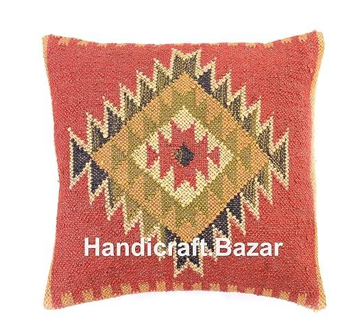 Funda de almohada de yute indio Kilim, cojín para exteriores ...