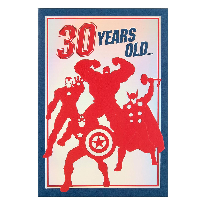 Tarjeta Hallmark de Los Vengadores de Marvel para 30 cumpleaños, mediana, diseño Heroic