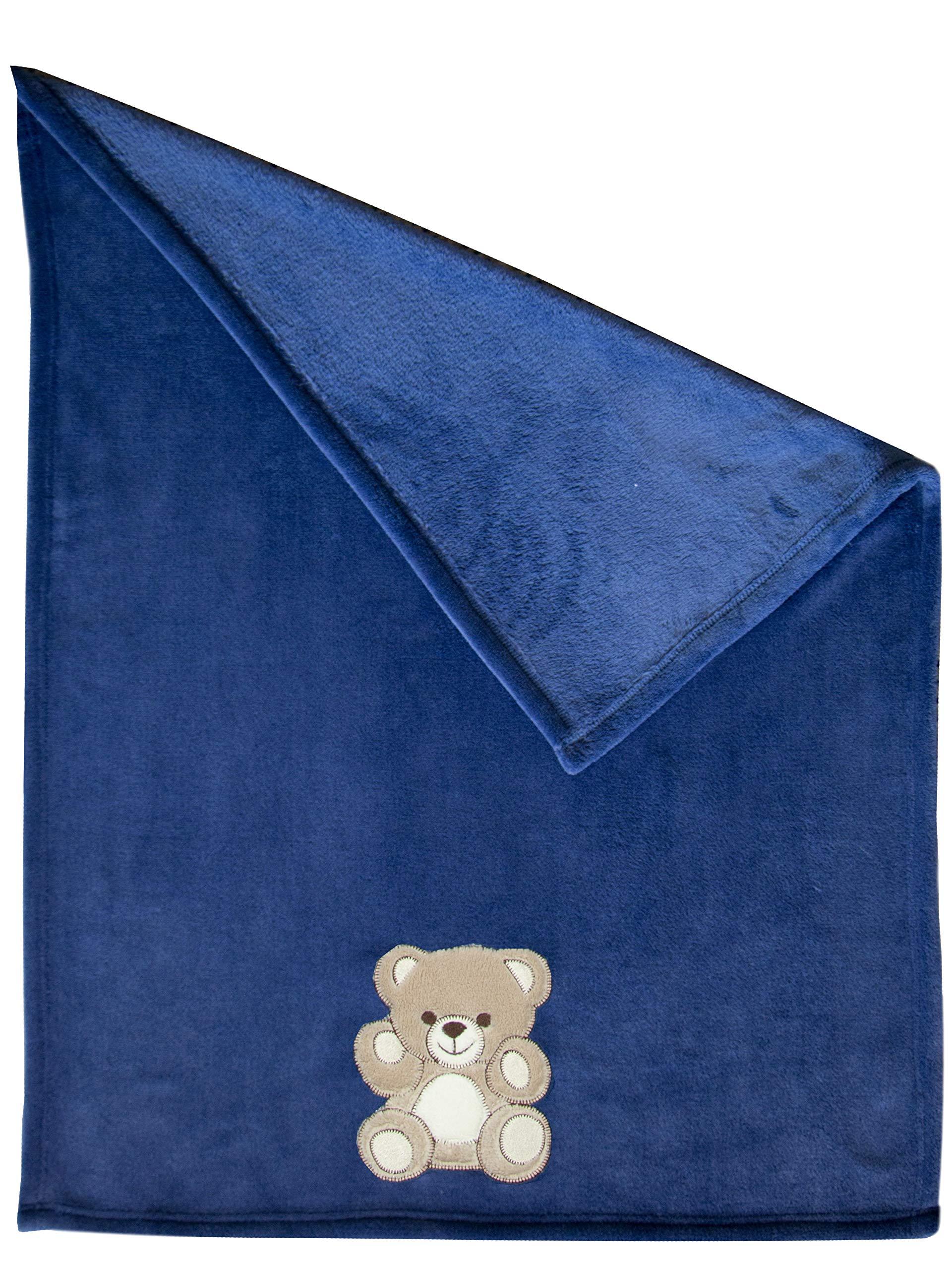 Zollner Manta para bebé,100x75 cm, manta polar coralina, azul, otros colores