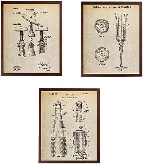 Amazon Com Turnip Designs Corkscrew Flute Glass Wine Champagne Bottle Patent Poster Winery Decor Kitchen Wall Decor Wine Art Decor Tdp375 Posters Prints