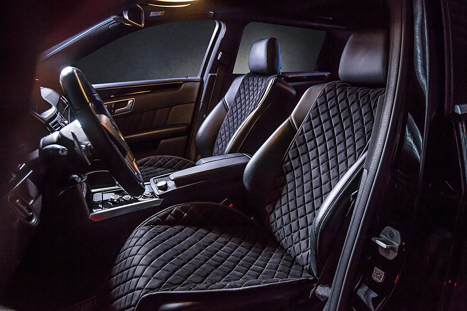 Trucks 2-pc Compatible with 90/% Cars Car Seat Protectors SUVs Premium Quality 100/% Handcrafted С СANTRA Cantra Z-Model Minivans Front Car Seat Covers Black with White Stitching