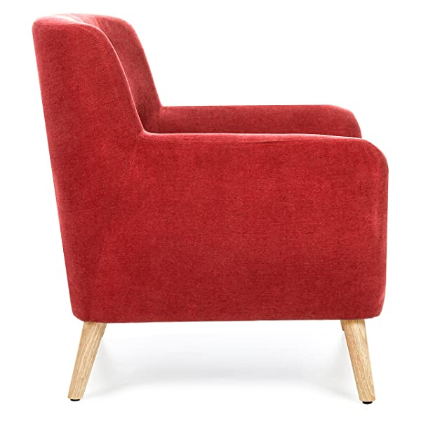 Best Choice Products Mid-Century Modern Upholstered Tufted Accent Chair (Red)