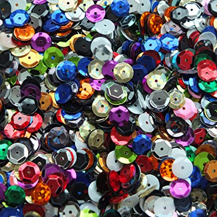 Sequin Mix ~ 6mm flat ~ No hole Round Mix Assorted ~ Made in USA