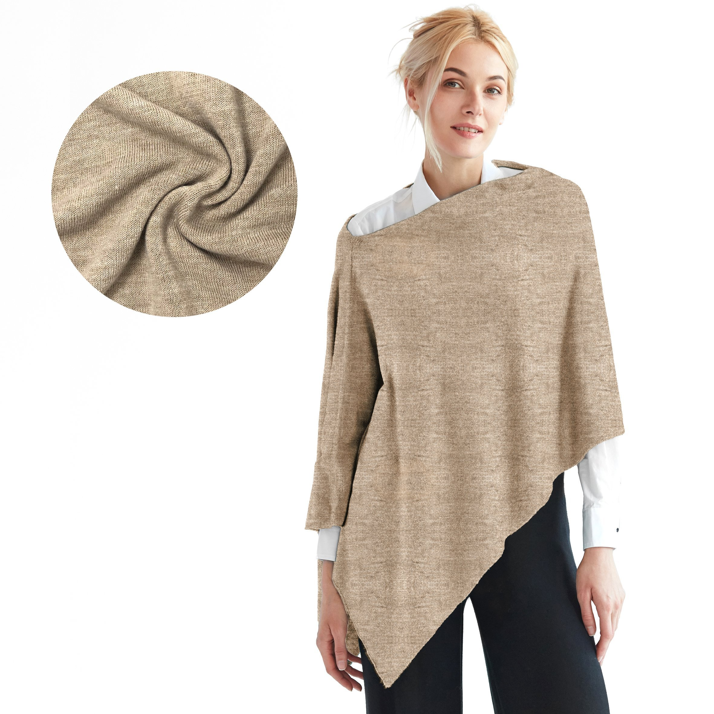 Faux Cashmere Acrylic 3 in One Poncho Topper FREE Linen Pouch One Size