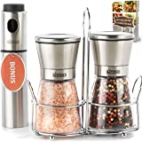 The Sapores Salt and Pepper Shakers with Matching Stainless Steel Stand and Vinegar Sprayer - Salt and Pepper Grinder Set with Adjustable Coarseness - Pepper Grinder - Pepper Mill