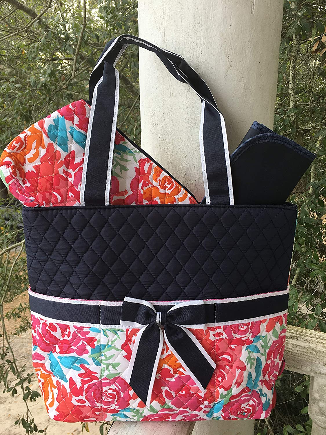 Quilted Garden View 3pc Diaper Bag Set with free monogram