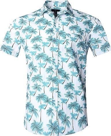 SOOPO Camisa Hawaiana para Hombre Shirt de Manga Corta Estampados de Palmeras, Barcos, Flores, Regular Casual, Camiseta Bonita y Cómoda para Verano, Diversos Colores y Tallas: Amazon.es: Ropa y accesorios