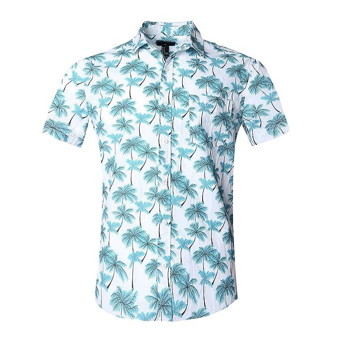 a04e1f9180 SOOPO Camisa Hawaiana para Hombre Shirt de Manga Corta Estampados de Palmas  Azules