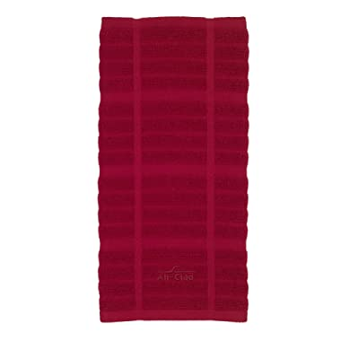 All-Clad Textiles 100-Percent Combed Terry Loop Cotton Kitchen Towel, Oversized, Highly Absorbent and Anti-Microbial, 17-inch by 30-inch, Solid, Chili Red