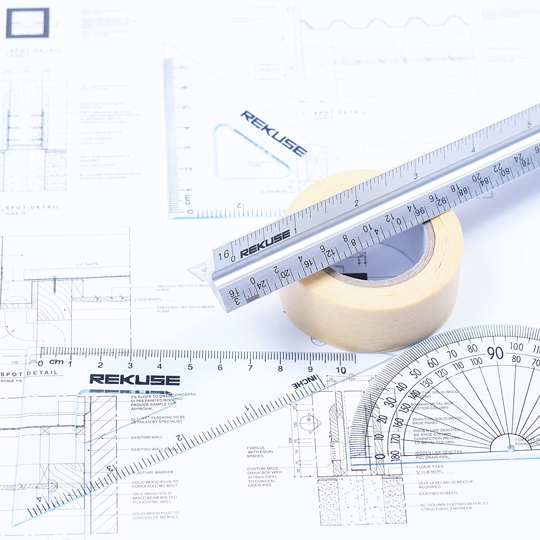Draftsman /& Student Masking Tape Geometry Set with Protractor Triangular Engineer Ruler REKUSE 12 Architectural scale Aluminium