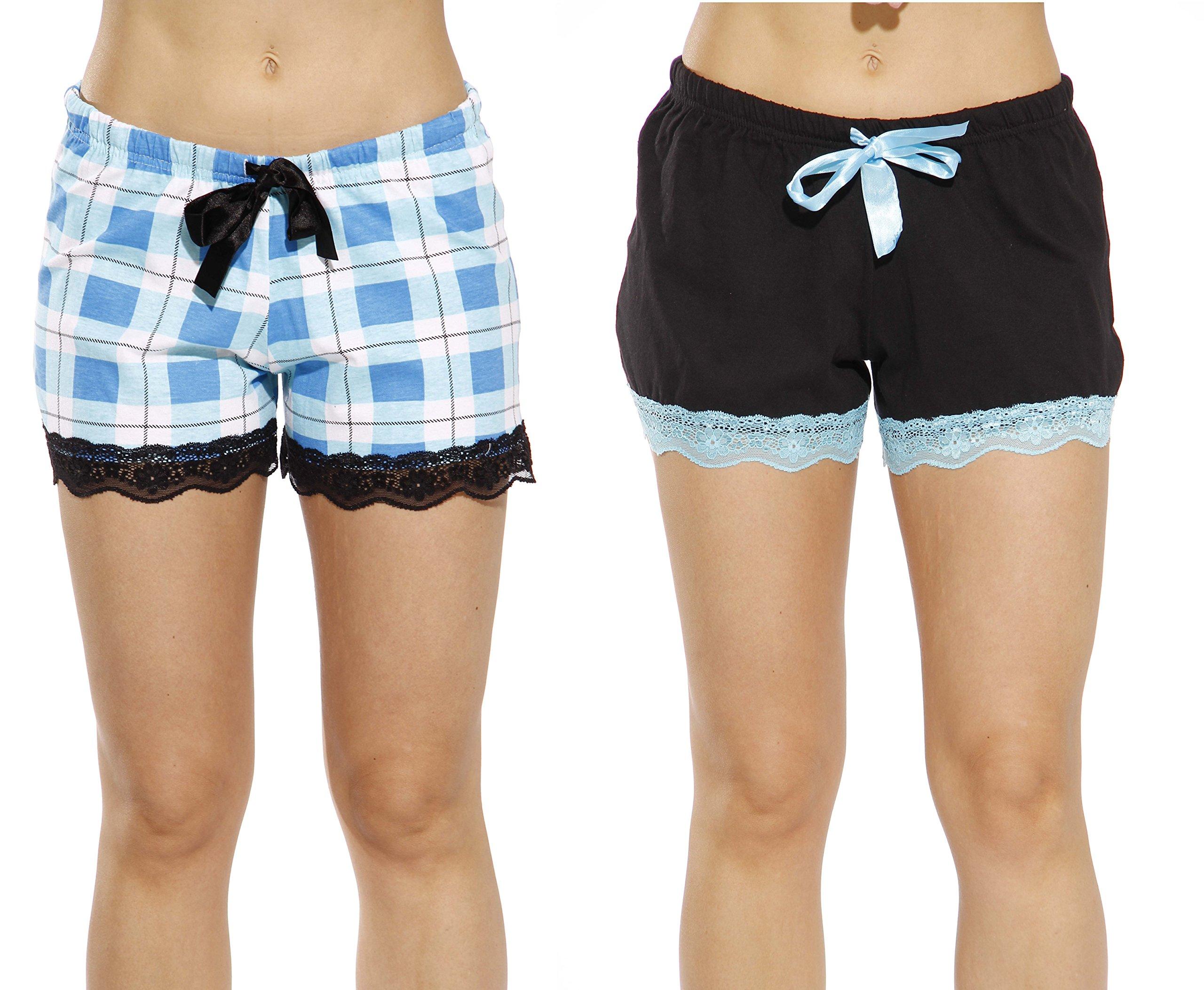 6334-10019-XL Just Love Womans Pajamas Shorts - PJs - Sleepwear (Pack of 2),Black - Aqua Plaid (Pack of 2),X-Large