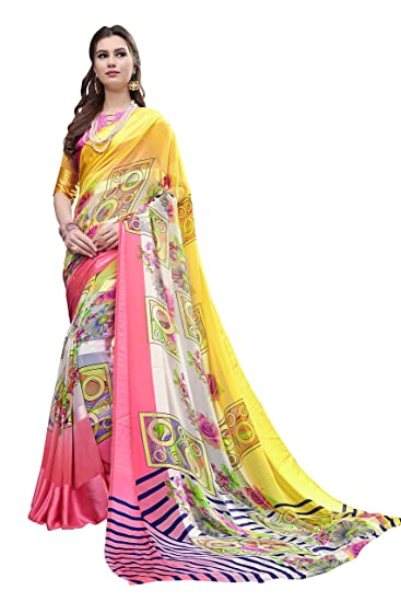 64e3abf21 Gaurangi Creation Women s Printed Georgette Satin Patta with Satin Border  Saree (Sur1002 Yellow   Pink)  Amazon.in  Clothing   Accessories