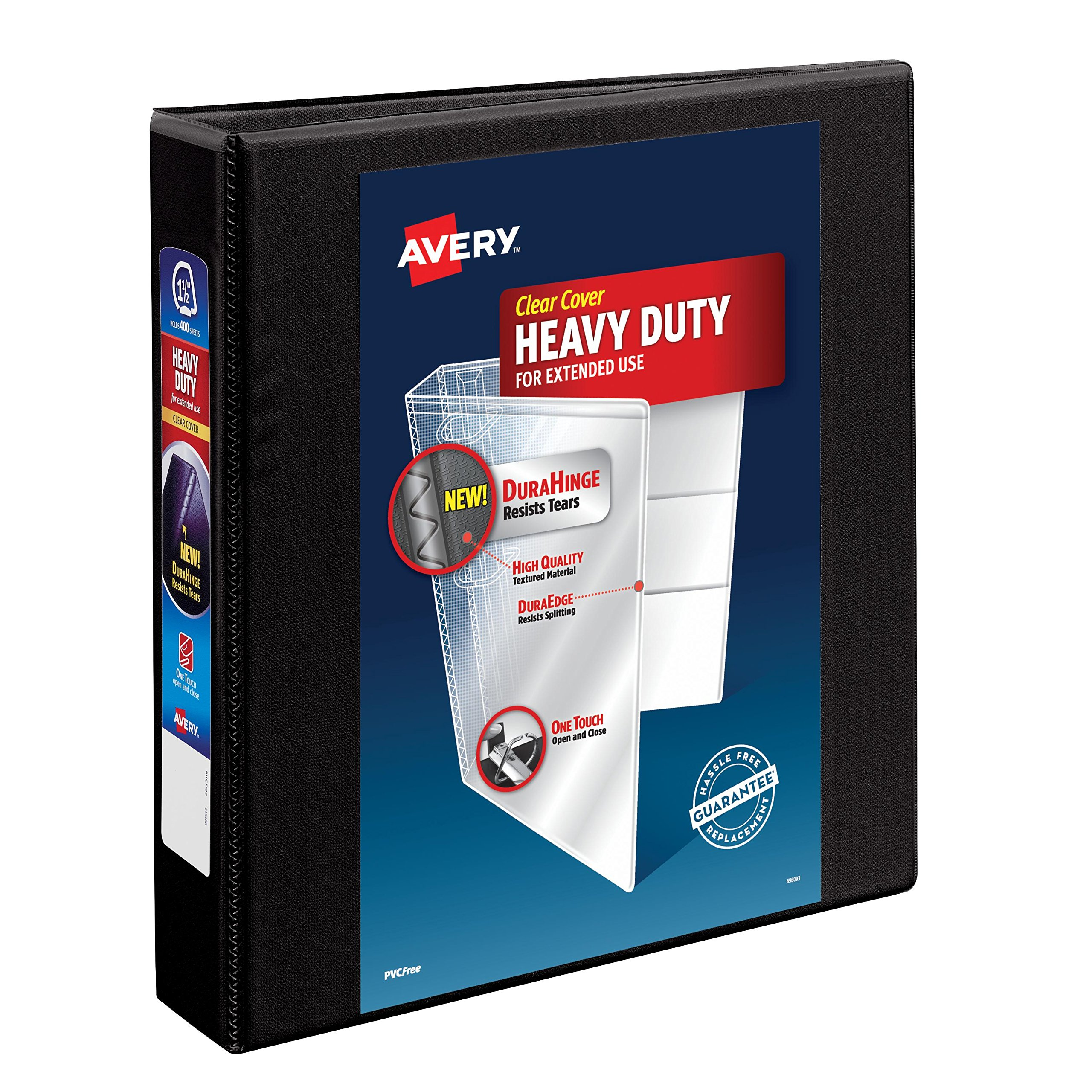 Avery Heavy-Duty View Binder, 1-1/2'' One Touch Rings, 400-Sheet Capacity, DuraHinge, Black, Case Pack of 12 (79695)