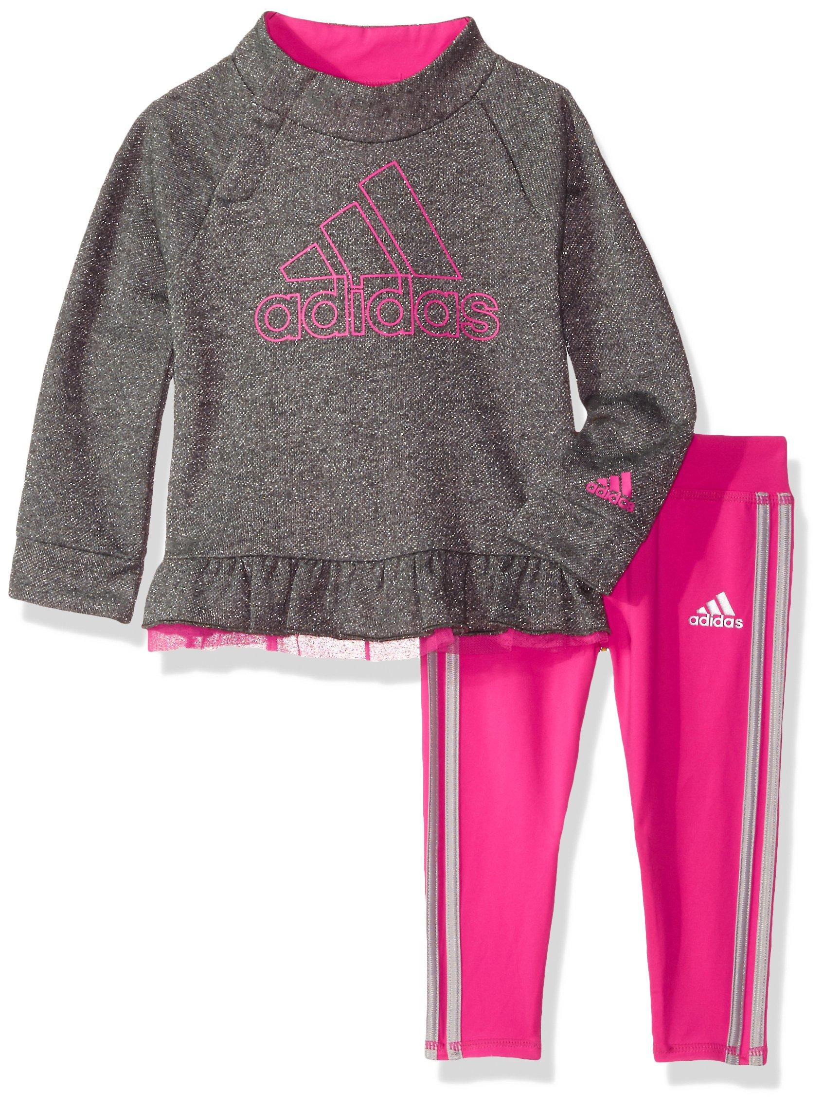 adidas Baby Girls Hoodie and Legging Set, Aqua Diamond, Large