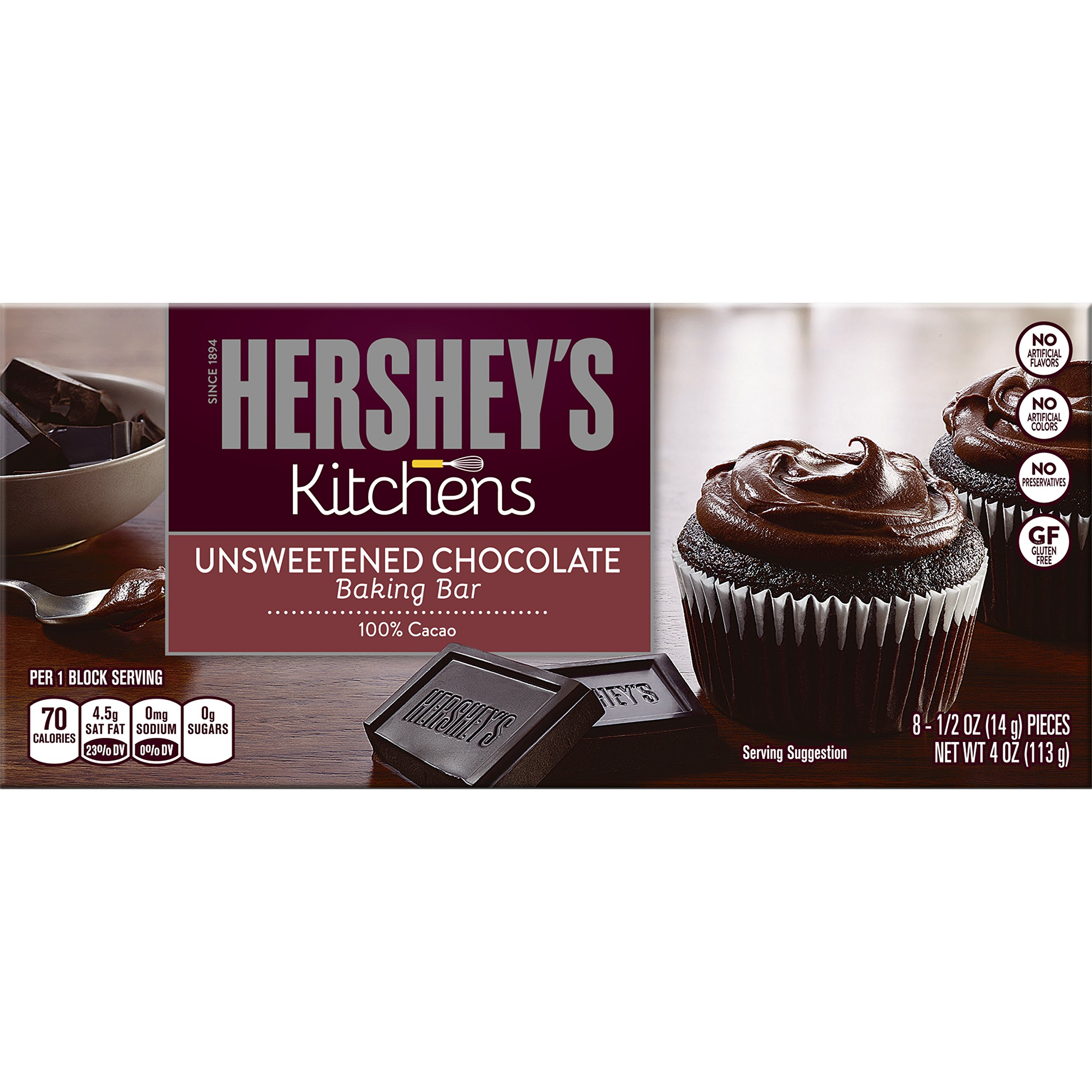 HERSHEY'S Kitchens Unsweetened Sweet Baking Chocolate Bar, 4 Ounce (Pack of 6)