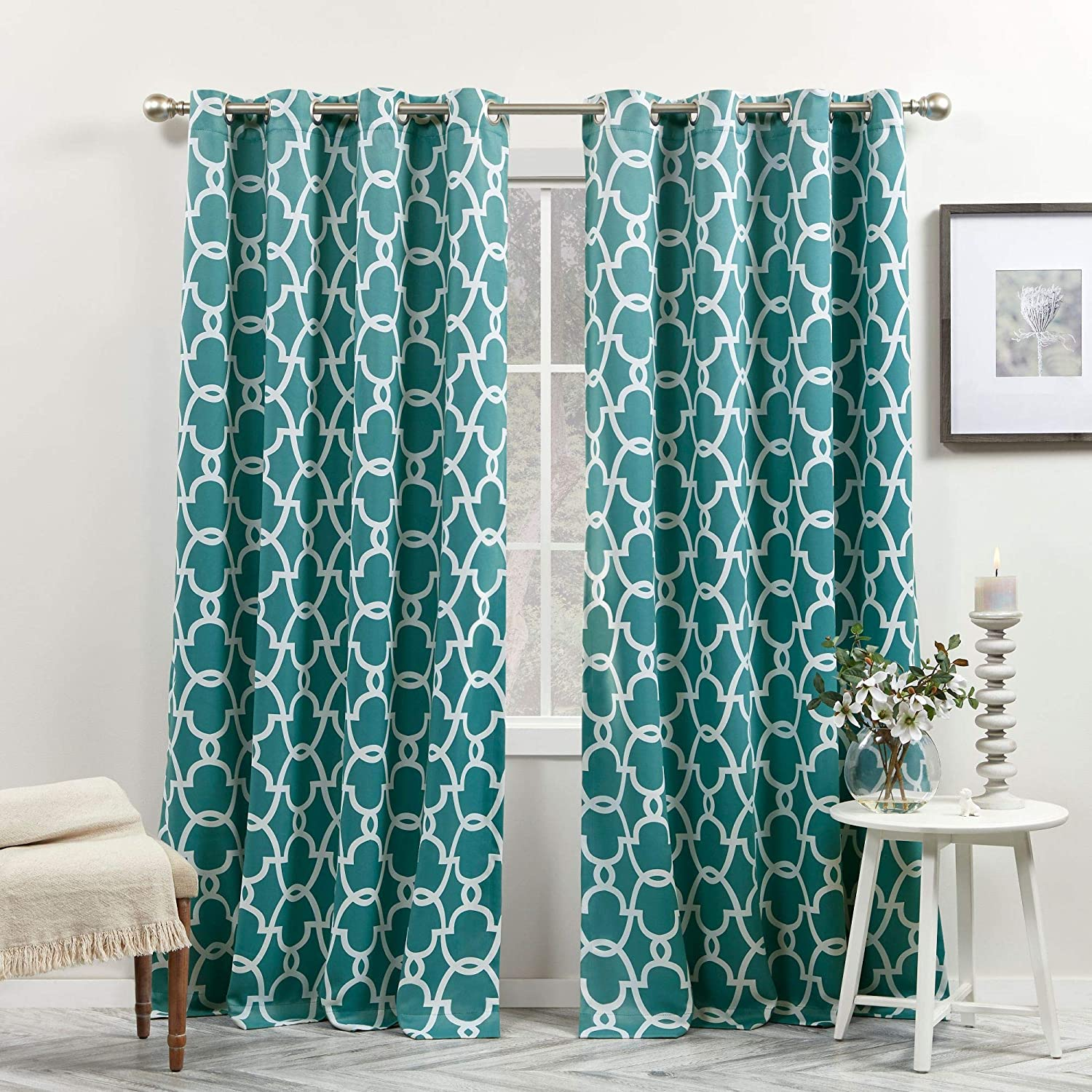 Exclusive Home Curtains Gates Sateen Blackout Thermal Window Curtain Panel Pair with Grommet Top, 52x96, Teal 2 Count