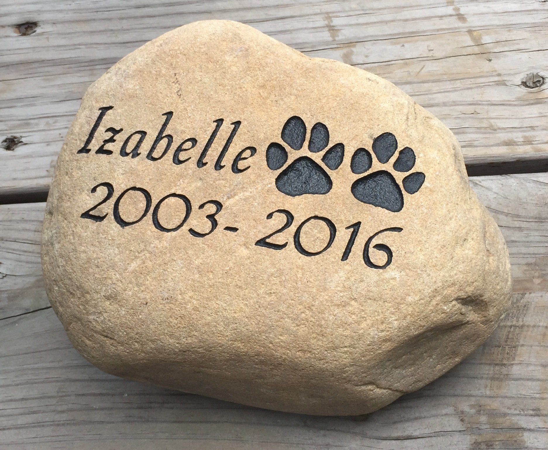 Personalized Dog Pet Memorial River Stone by Upstate Stone Works