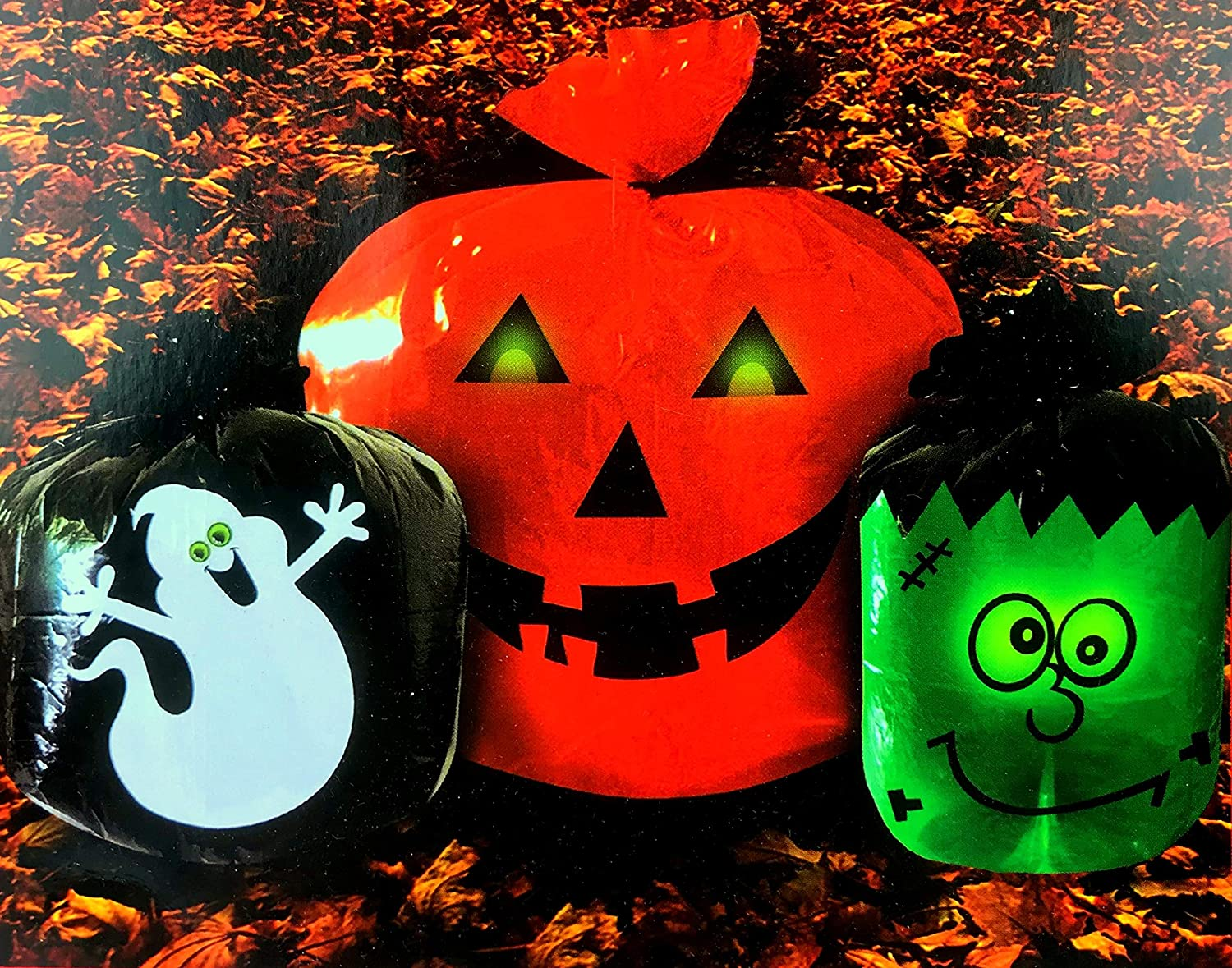 Halloween Glow in the Dark Lawn Leaf Bags - Outdoor Fall Yard Decoration - Pumpkin Jack O Lantern Ghost Monster - Pack of 3