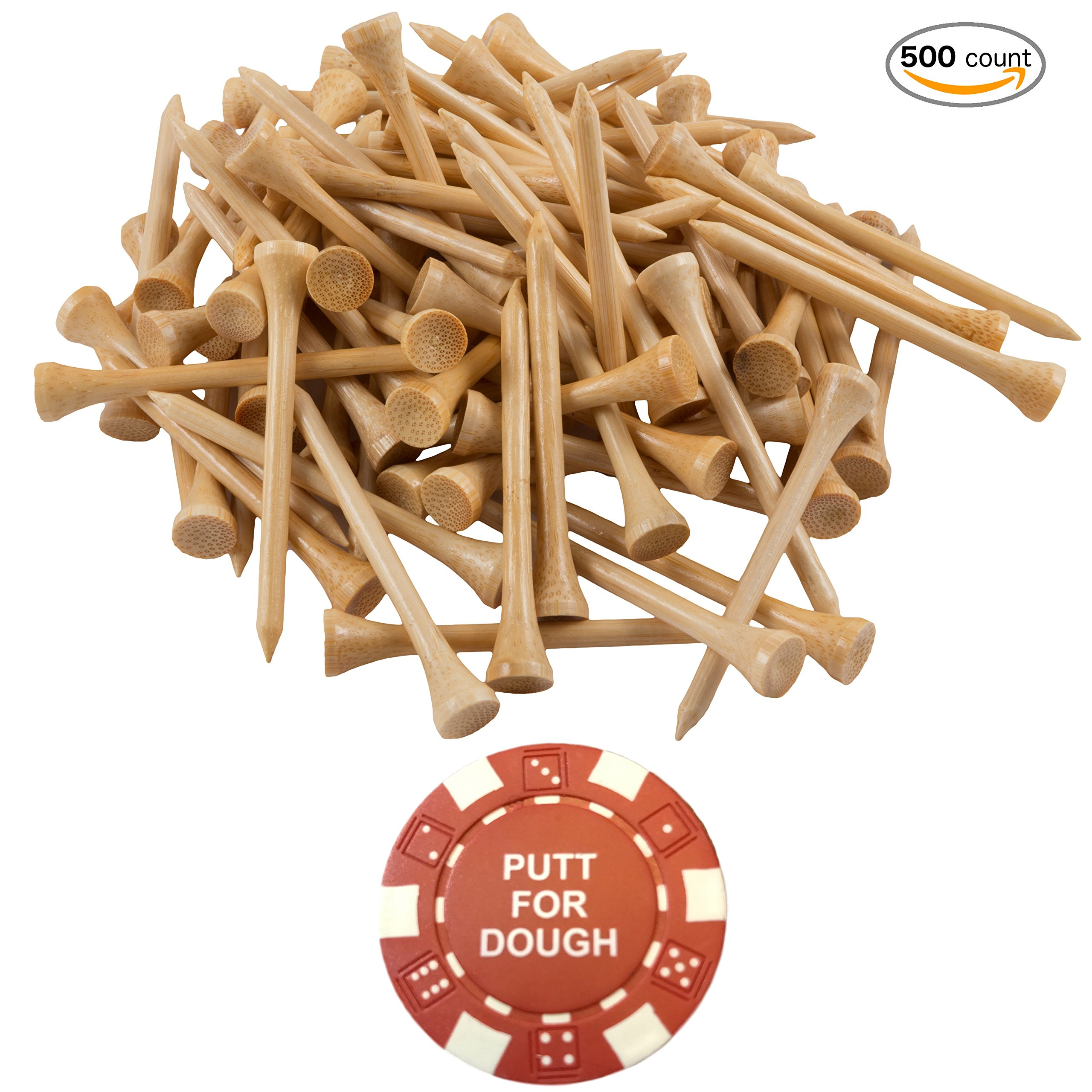 Wedge Guys 500 Count Professional Bamboo Golf Tees 2-3/4 inch - Free Poker Chip Ball Marker - Stronger Than Wood Tees Biodegradable & Less Friction PGA Approved by Wedge Guys