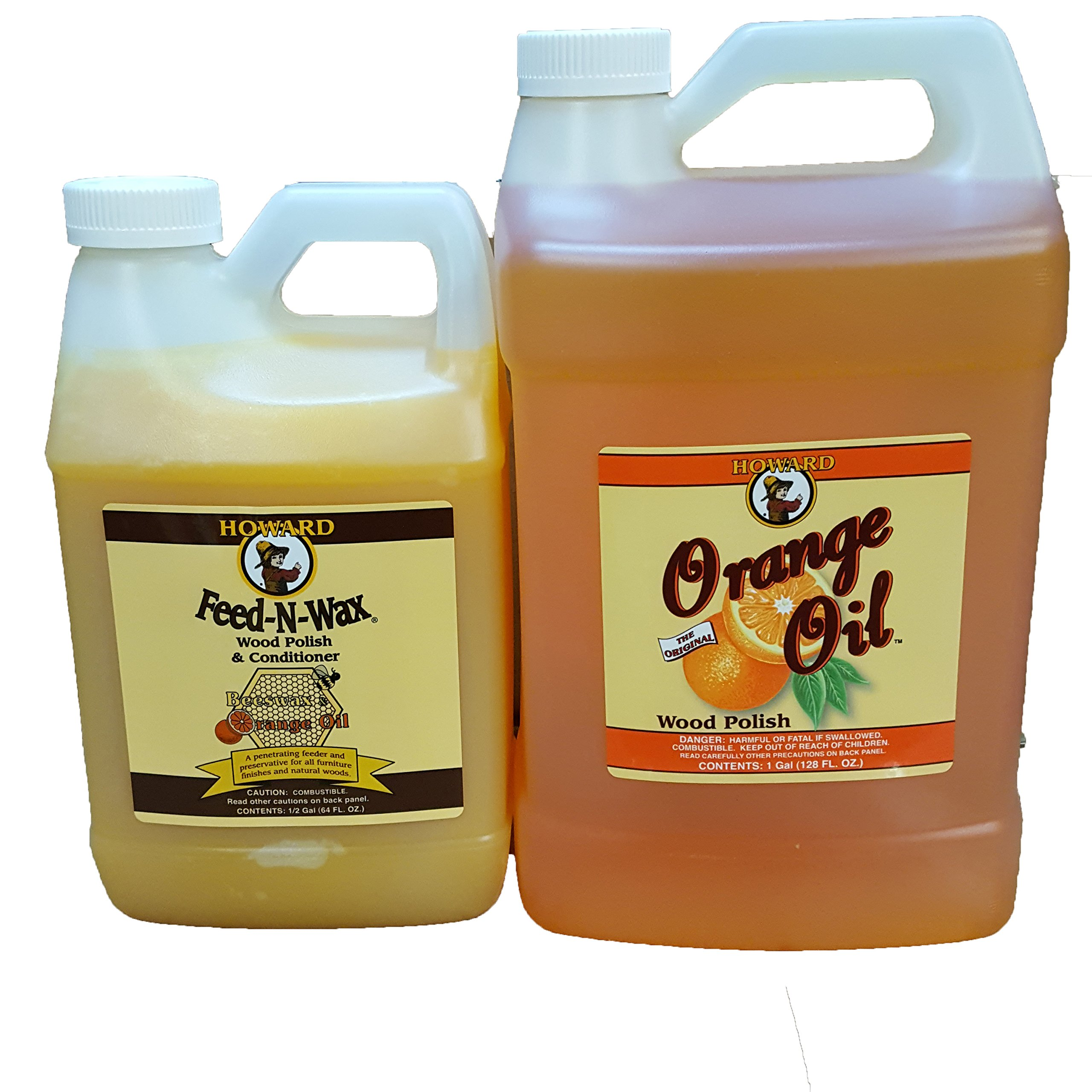 Howard Feed-N-Wax 1/2 Gallon and Howard Orange Oil Gallon, Clean Kitchen Cabinets, Wood Cleaner, Orange Wood Cleaner, Clean Hardwood Floors, Beeswax Wood Preserver by Howard Products (Image #1)