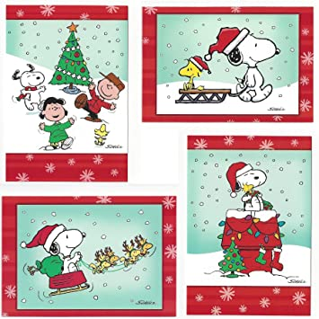 Snoopy Christmas Cards.Peanuts Snoopy And Friends 24 Count Holiday Christmas Cards