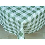 THE TABLECLOTH SHOP Green Gingham Vinyl Tablecloth Table Cover 2 Metres