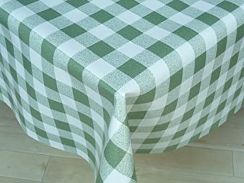 Beautiful THE TABLECLOTH SHOP Green Gingham Vinyl Tablecloth Table Cover 2 Metres