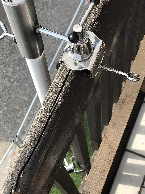Holly Soporte para sombrilla de balcón de Acero Inoxidable de 40 mm, para Bastones de hasta 40 mm de diámetro y Acero Inoxidable, con acople de 6 + 11 cm de diámetro: Amazon.es: Jardín