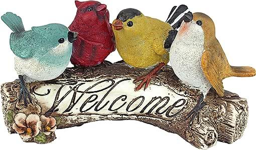 Design Toscano QM223531 Birdy Welcome Sign Garden Bird Statue, Small, Multicolored
