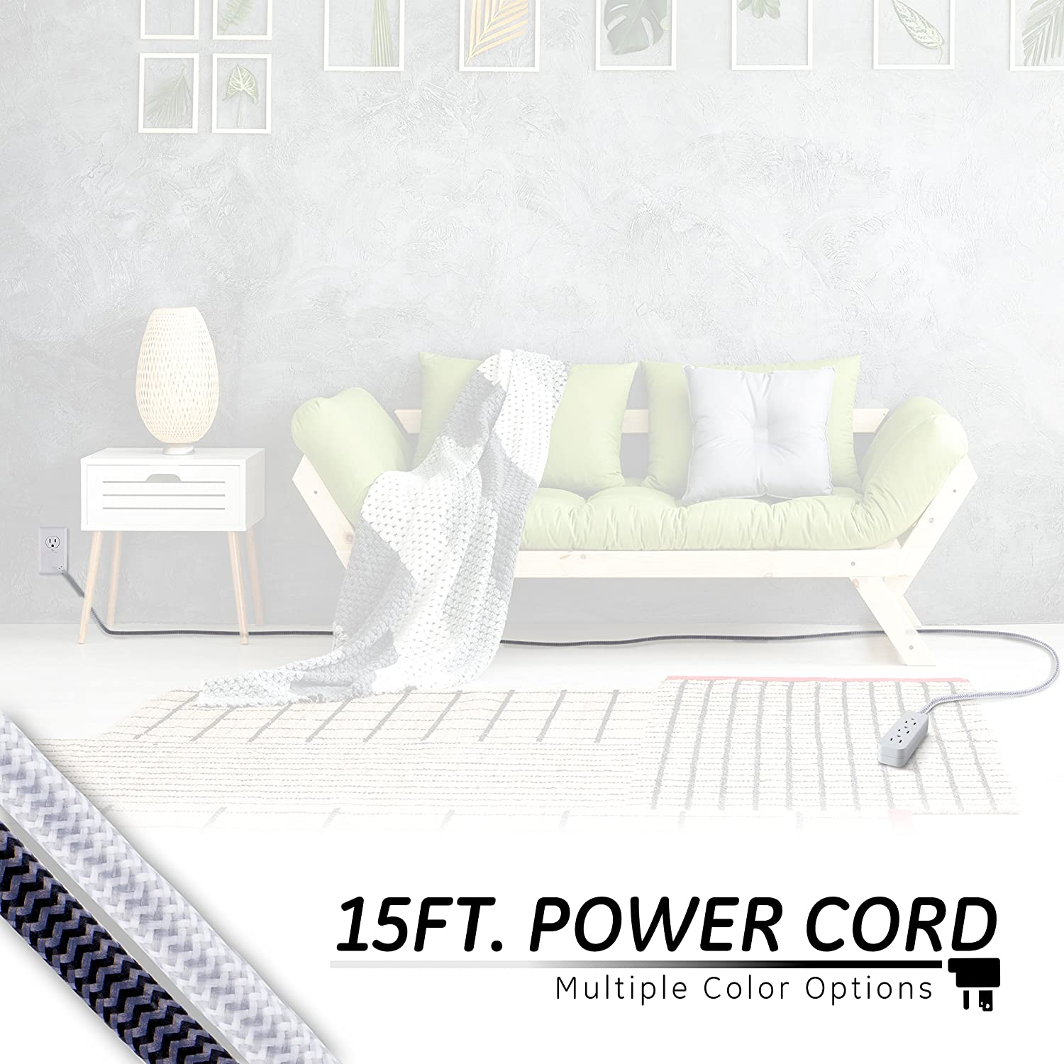 Ge Designer Extension Cord With Surge Protection Wire Colors Besides Plug Wiring Diagram Braided Power 15 Ft 3 Grounded Outlets Flat Premium White Grey