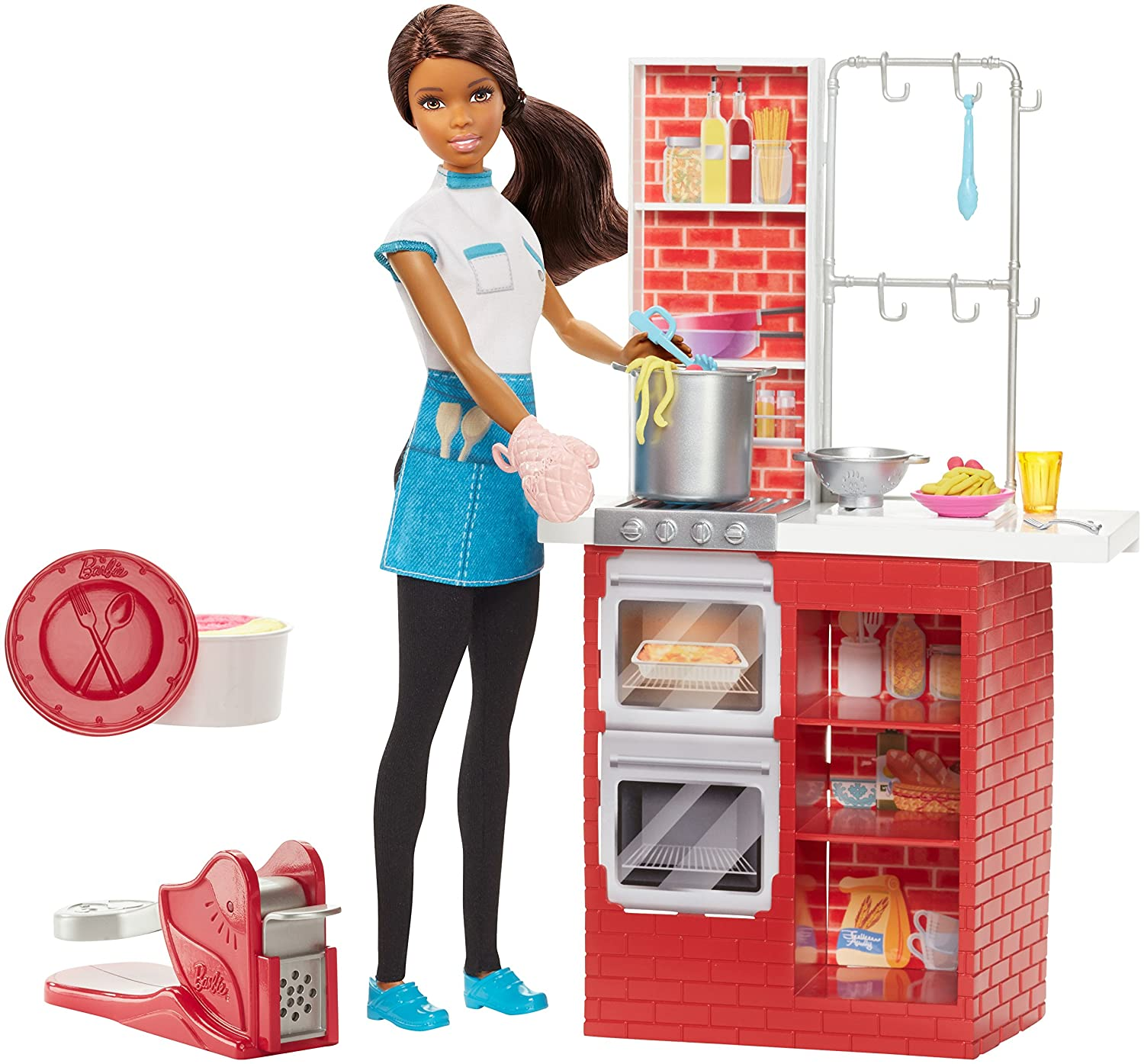 Barbie Spaghetti Chef Doll, Brunette, & Playset