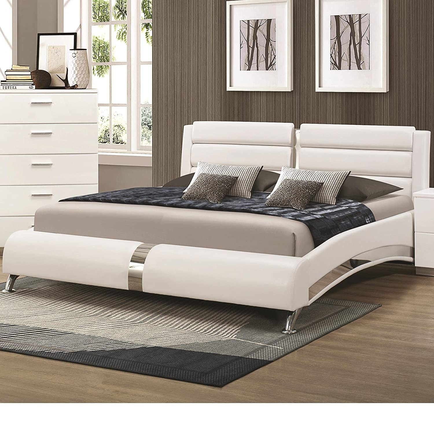 amazoncom coaster 300345kw white california king size bed with metallic accents kitchen u0026 dining