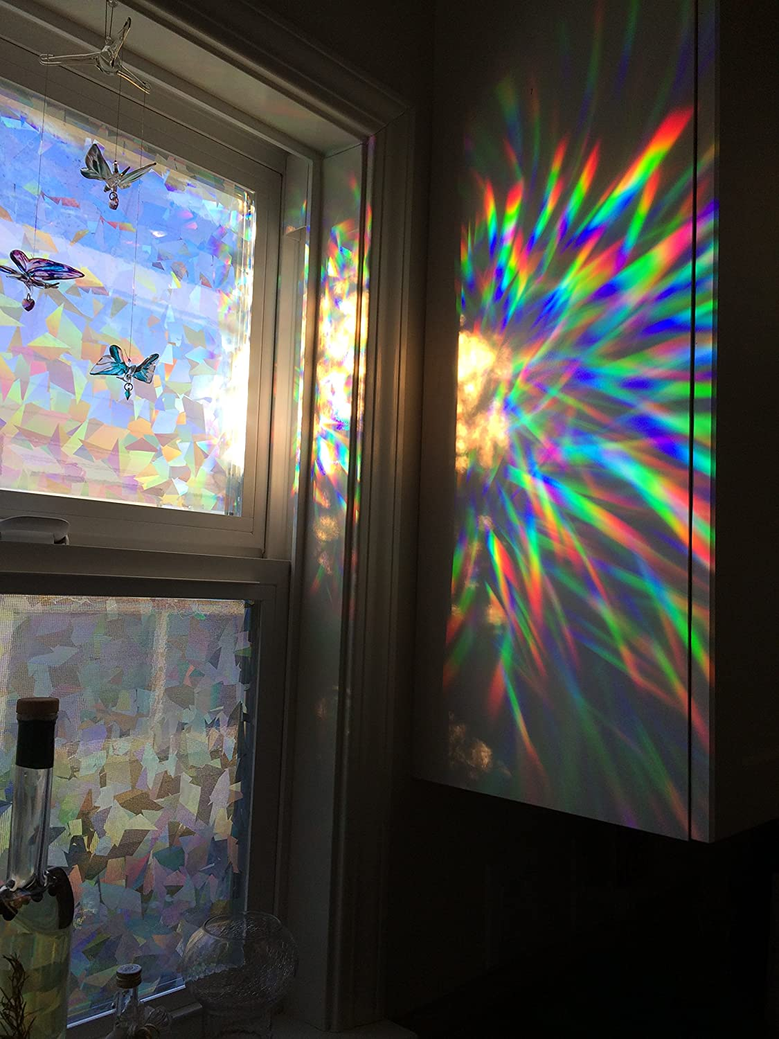 amazoncom decorative window film holographic prismatic etched glass effect fill your house with rainbow light 23 x 36 panels home kitchen - Decorative Window Film