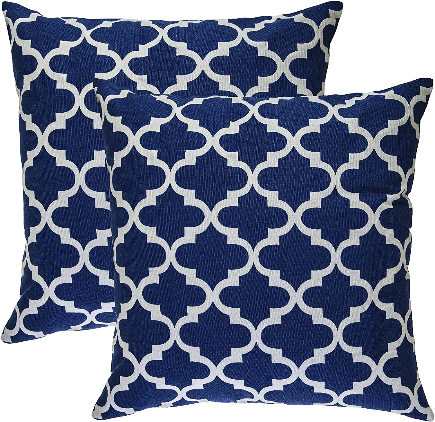 Amazon Com Treewool Pack Of 2 Decorative Throw Pillow Covers Trellis Accent 100 Cotton Cushion Shams Cases 18 X 18 Inches 45 X 45 Cm Navy Blue Home Kitchen