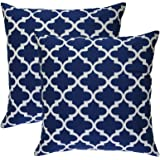 TreeWool, Cotton Canvas Trellis Accent Decorative Throw Pillow Covers (2 Cushion Covers; 20 x 20 Inches; Navy Blue & White)