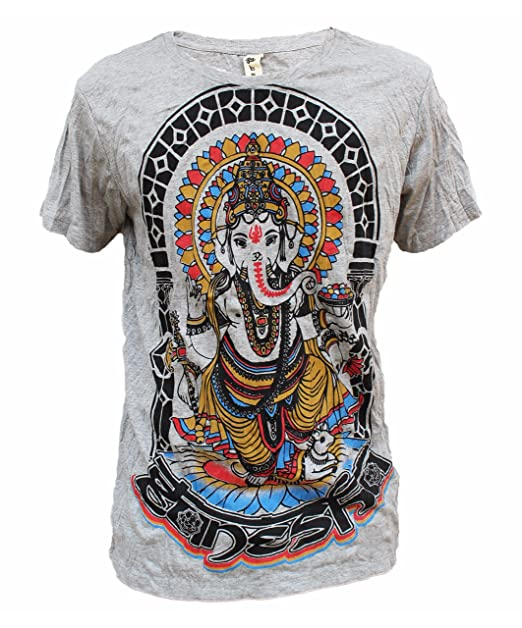 Yoga Shirts - Omtimistic Mens Hindu Ganesh Elephant God & Om Symbol T-Shirt
