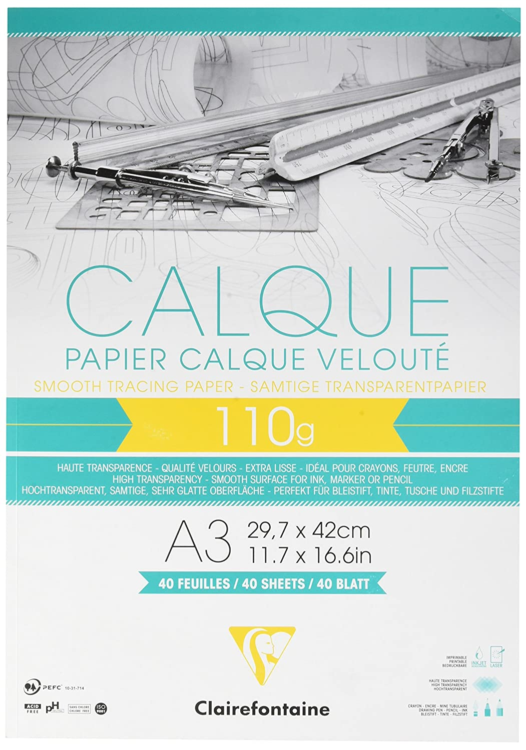 Clairefontaine 0.375 x 20 m Tracing Paper Roll, 110 g 975110C