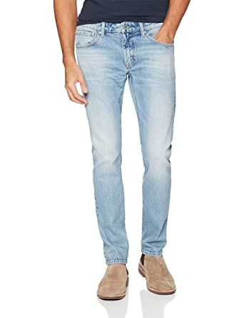 24cb8a791a7 Amazon.com  Denim Garage Classics Men s Slim-fit Stretch Jean Light Blue   Clothing