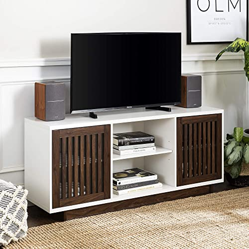 WE Furniture Mid-Century Modern TV Stand Console for Living Room, 56 , White Dark Walnut
